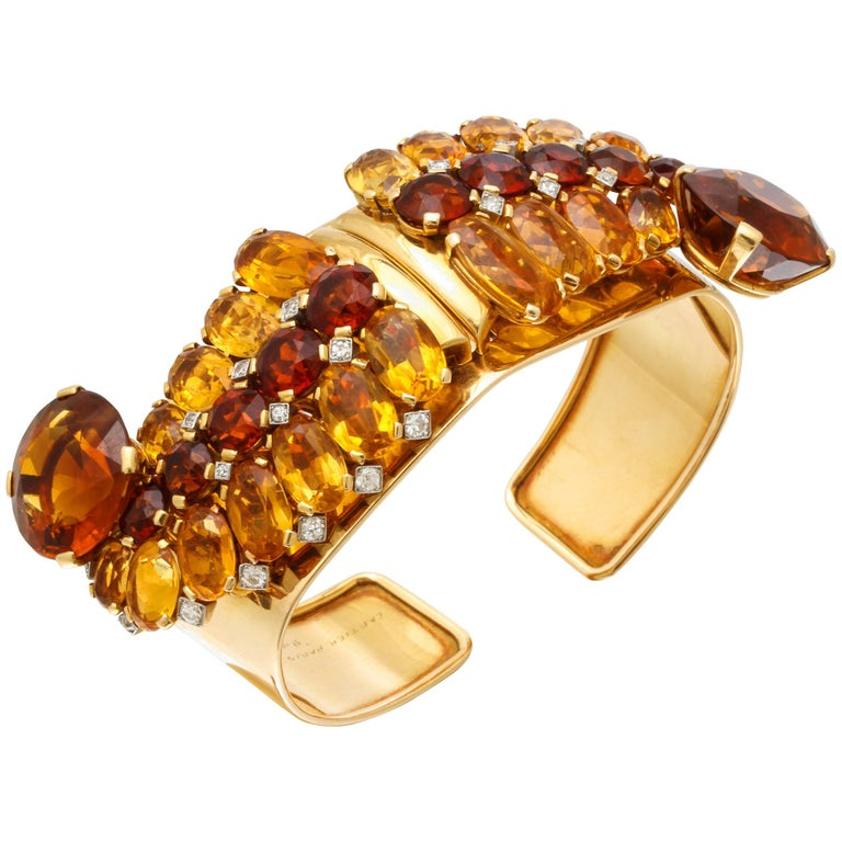 1930s Cartier Paris Citrine Clip Bangle Combination Set For Sale