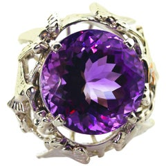 Sterling Modernist Ring Round Cut Amethyst