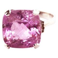 13.1 Carat Pink Kunzite Sterling Silver Ring