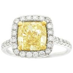 3.0 Carat Fancy Yellow Diamond Gold Ring EGL Lab Report