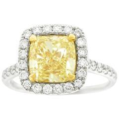3.0 Carat Fancy Yellow Diamond Gold Ring