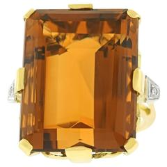 Fabulous 50 Carat Citrine and Diamond Retro Gold Ring