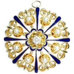 Carl D. Lindstrom Diamond Pearl and Enamel Large Sunburst Pin Pendant