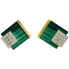 Cubic Malachite Diamond Gold Earrings