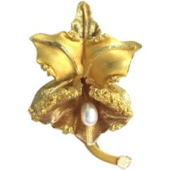 Vintage 18K Gold Freshwater Pearl Orchid Flower Pin Brooch