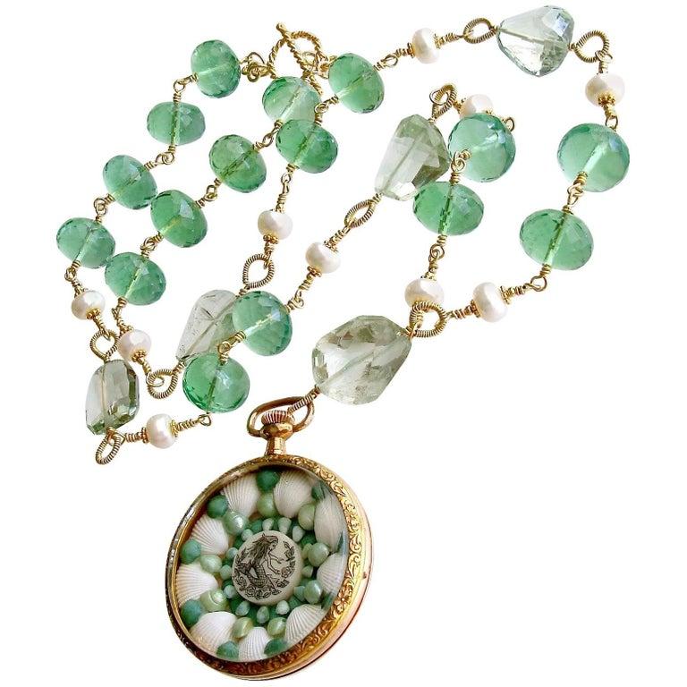 Sailors Valentine Necklace Green Fluorite Prasiolite