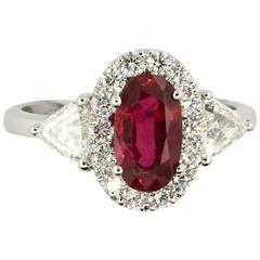 2.61 Carat GRS Certified Blood Red Ruby and Diamond Ring