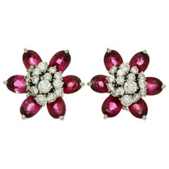 Van Cleef & Arpels Hawaii Diamond Rubellite White Gold Flower Earrings