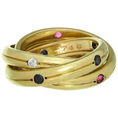 Cartier Constellation Trinity Diamond Ruby Sapphire Yellow Gold Ring
