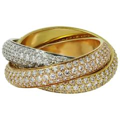 Cartier Trinity Pave Diamond Tri-Color Gold Band Ring