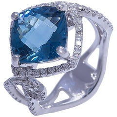 Blue Topaz and Diamond White Gold Cocktail Ring