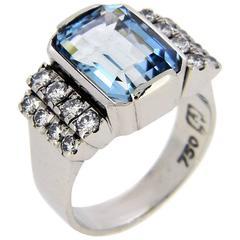 4.83 Carat Aquamarine and Diamond Cocktail Ring