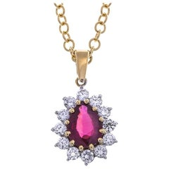18 Carat Gold 1.15 Carat Ruby and Diamond Pendant