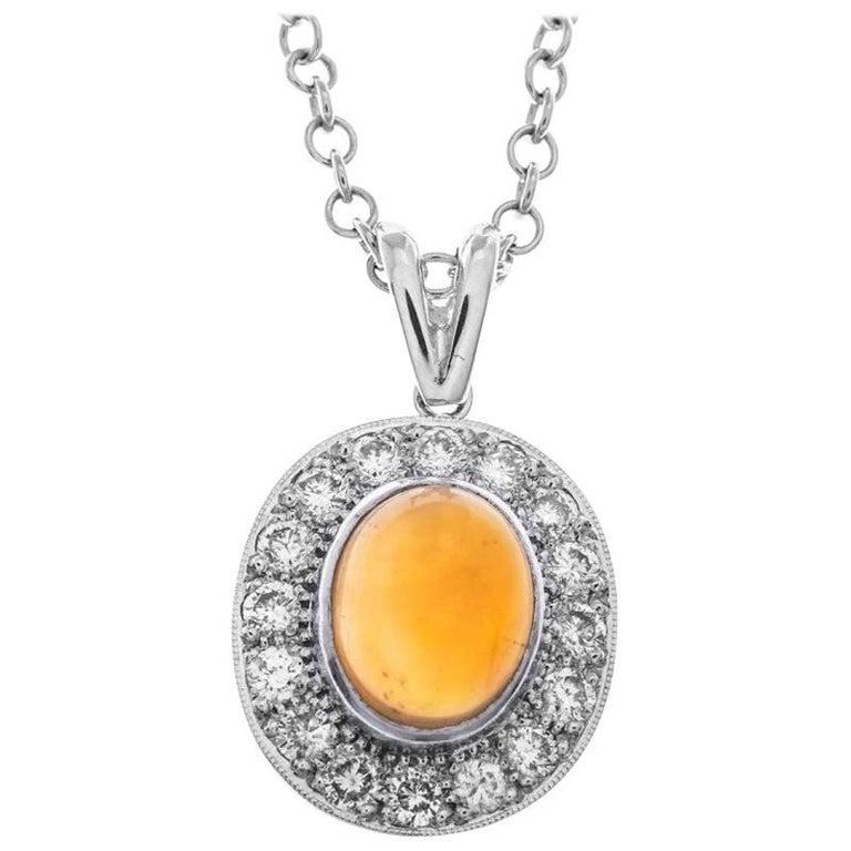18 Carat White Gold 2.09 Carat Fire Opal and Diamond Halo Pendant