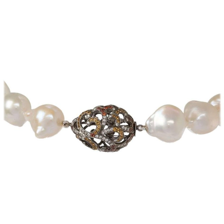 Fei Liu Baroque Pearl Necklace and 18 Carat Gold Hollow Tear Drop Clasp