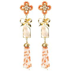 Couleurs de Géraldine Gold Bow and Bird Earrings Coral Made in Italy