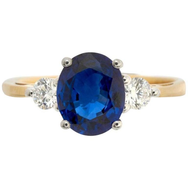 18 Carat Gold 1.87 Carat Sapphire and 0.24 Carat Diamond Ring