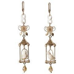 Couleurs de Géraldine Gold Cage Earrings Handsculpted Bird Citrine