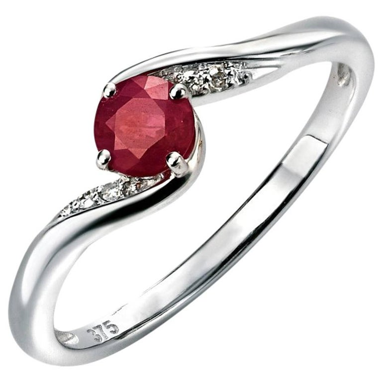 9 Carat White Gold Ruby and Diamond Dress Ring
