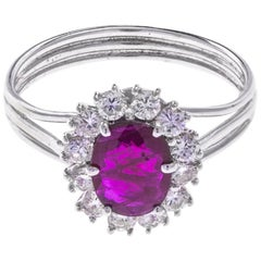 Vintage White Gold 0.75 Carat Ruby and 0.51 Carat Diamond Cluster Ring