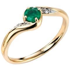 9 Carat Gold Emerald and Diamond Dress Ring