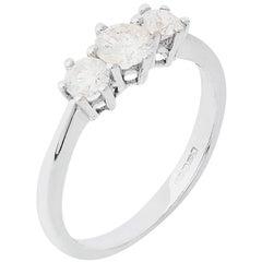 18 Carat White Gold Certified 0.79 Carat Diamond Trilogy Ring