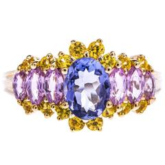 9 Carat Gold Tanzanite and Sapphire Dress Ring