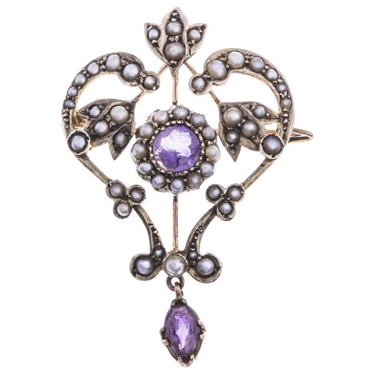 Antique Edwardian Momarestdy Amethyst Split Pearl Pendant and Brooch