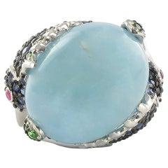 Aquamarine Cabochon Precious Stone Silver Cocktail Ring