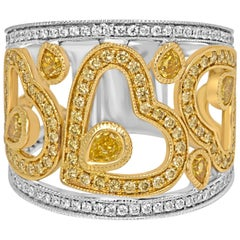 Natural Fancy Color Diamond Two Color Gold Cocktail Fashion  Band Ring