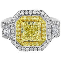 GIA Certified Fancy Yellow and White Diamond Double Halo Two Color Gold Ring