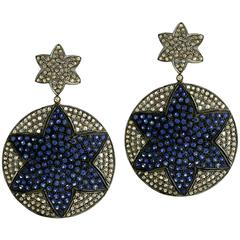 Pave Blue Sapphire and Diamond Earring