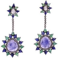 Tanzanite Blue Sapphire Emerald Earring with Diamonds
