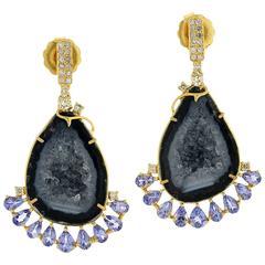 Geode Diamond Tanzanite Earring
