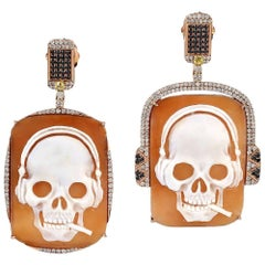 Fun Cameo Earring with Diamonds