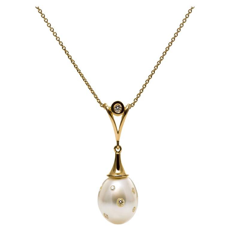 Lust Jewelry Passion Pendant 0.27 Carat White Diamonds South Sea Pendant Chain