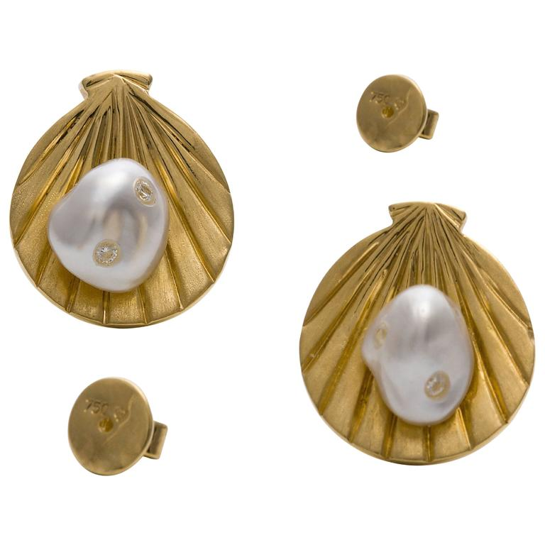 Gold Shell White Keshi South Sea Pearls White Diamonds Studs Earrings For Sale