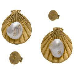 Lust Jewelry Gold Shell Earrings White Keshi South Sea Pearls White Diamonds