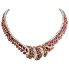 Garrard London Diamond Burma Ruby Necklace