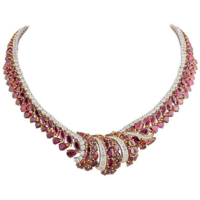Garrard London Diamond Burma Ruby Necklace