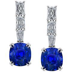 Cushion Blue Sapphire and Diamond Drop Earrings