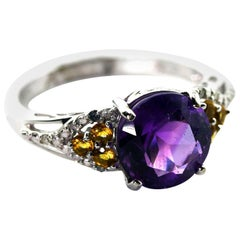 2.4 Carat Amethyst, Diamond Citrine 10Kt White Gold Dinner Ring