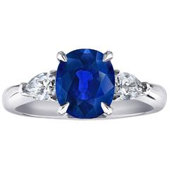3.06 Carat Natural No Heat Blue Sapphire Diamond Engagement Ring