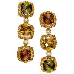 Alex Soldier Tourmaline Diamond Yellow Gold Byzantine Drop Earrings