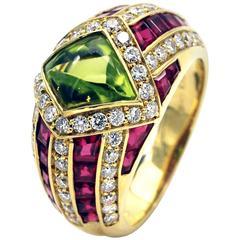 Peridot Ruby and Diamond Gold Ring