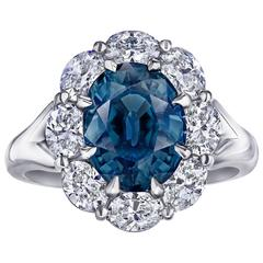 Certified 4.63 Carat Oval Greenish Blue Sapphire Ring