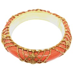 1960s Van Cleef & Arpels Paris Coral Gold Bangle Bracelet