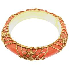 1960s Van Cleef & Arpels Paris Coral Gold Bangle Bracelet
