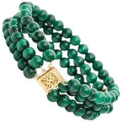 1950s Malachite and Yellow Gold Bracelet