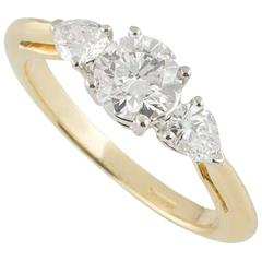Tiffany & Co. Yellow Gold Three-Stone Diamond Ring